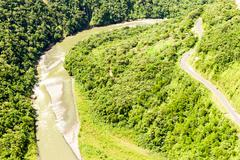Pastaza River And Panamericana Road Aerial Shot - stock photo