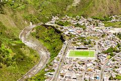 Banos De Agua Santa City Center Aerial Shot Stock Photos