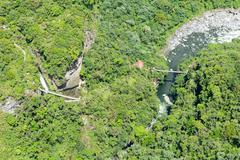 Stock Photo of Pailon Del Diablo Waterfall Aerial Shot