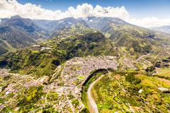 Banos De Agua Santa Aerial Shot Wide Angle Stock Photos