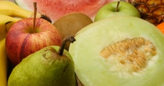 Diet and dieting healthy natural fresh fruits - stock footage