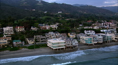 Malibu Beach Front Houses Aerial 4 Stock Footage