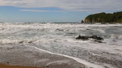 Storm waves run ashore. Japanese Sea. - stock footage