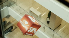 Advertizing cube view from elevator Stock Footage