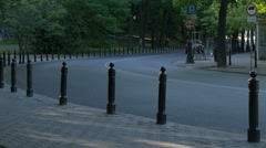 Traffic on a curved street in Warsaw Stock Footage
