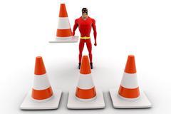 superhero making traffic cone row concept - stock illustration