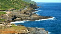 4k Hawaii, Island Of Oahu Cliffs And Sea, East Oahu Coastline. Stock Footage