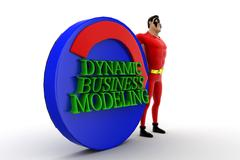 3d superhero presenting automate dynamic business modeling concept - stock illustration