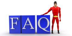 Superhero leaning on FAQ text concept Stock Illustration