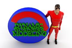 Stock Illustration of 3d superhero presenting automate dynamic business modeling concept