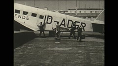 Vintage 16mm film, 1938, Germany, Junkers Ju 52 disembark Stock Footage