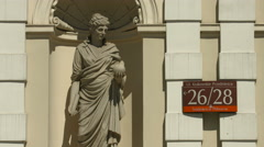 Statue of Urania holding a globe, at the University of Warsaw Stock Footage