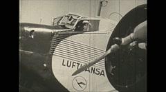 Vintage 16mm film, 1938, Germany, Junkers Ju 52 ext cockpit Stock Footage