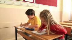 Elemantary students in classroom 3 Stock Footage