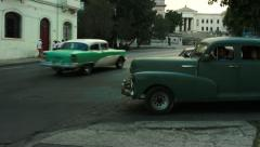 View of Havana university and cars - stock footage