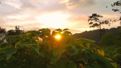 Crane shot - Landscape of sunset twilight behind the mountain and hill Stock Footage