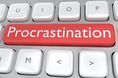 Procrastination Button concept Stock Illustration