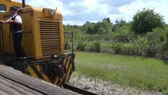 Locomotive Traveling On Railroad Close Up - stock footage