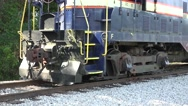 Stock Video Footage of Close Up Trail Locomotive