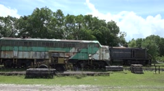 Old Locomotive Trains In Railroad Yard Stock Footage