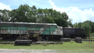 Stock Video Footage of Old Locomotive Trains In Railroad Yard