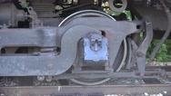 Stock Video Footage of Steel Train Wheel Closep Up