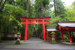 hakone shrine (temple)  Japanese Shinto shrine entrance beside ashi lake toky - stock photo