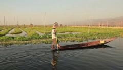 Boat Inle lake Stock Footage