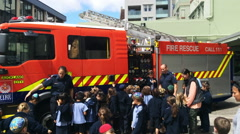 Fire Safety Education day in Auckland City Fire Station, New Zealand Stock Footage