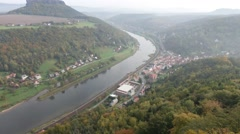 View from viewpoint of Bastei in Saxon Switzerland Germany to the town city a - stock footage