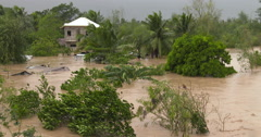 Flood Water Swamp Village After Hurricane Stock Footage