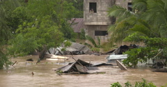 Flood Water Swamp Village After Hurricane close up Stock Footage