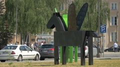 View of a black Pegasus statue in Warsaw Stock Footage