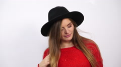 Woman in hat with hair mustache having fun 4K. Stock Footage