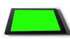 Smart Tablet with Green Screen Isolated on White, 4K Stock Footage