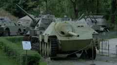 Old tanks at Polish Army Museum, Warsaw Stock Footage