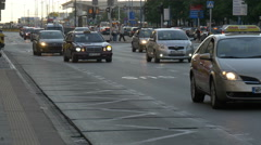 Traffic on Aleje Jerozolimskie street, near the Central railway station, Warsaw Stock Footage
