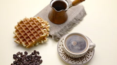 Belgian waffles and coffee Stock Footage