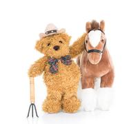 Teddy bear farmer with pitchfork  and horse - stock photo