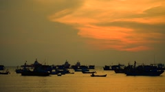 Ships on sea in evening sun lights Stock Footage