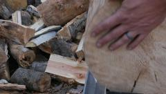 Large log split with ease Stock Footage