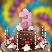 Birthday cake with number 3 lit candle - stock illustration