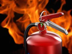 Fire extinguisher on flame background Stock Illustration