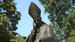 Cardinal Stefan Wyszynski Monument in Warsaw - stock footage
