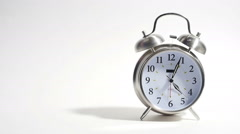 Wake Up and Drink Coffee Put Down Cup and Ringing Clock Isolated on White Stock Footage