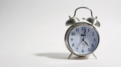Wake Up and Drink Coffee Put Down Cup and Ringing Clock Isolated on White, 4K Stock Footage