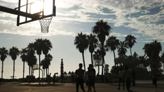 Street basketball slam dunk Stock Footage