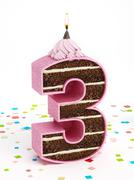 Number 3 shaped chocolate birthday cake with lit candle - stock illustration