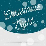 Snowfall Christmas Night vector Card - stock illustration