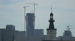 Tower of Jablonowski Palace and buildings under construction nearby, Warsaw Stock Footage